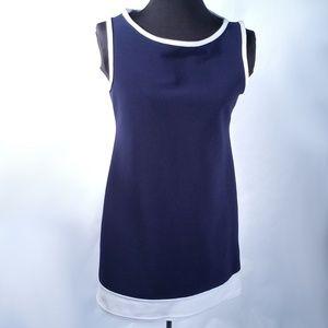 VTG 90s Navy Blue White Mod Sleeveless Mini Dress